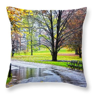 Empty Walkway On A Beautiful Rainy Autumn Day Throw Pillow by Nishanth Gopinathan