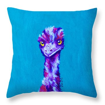 Throw Pillow featuring the painting Emu Turquoise by Margaret Saheed