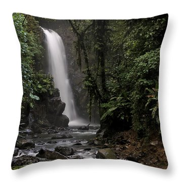 Encantada Waterfall Costa Rica Throw Pillow