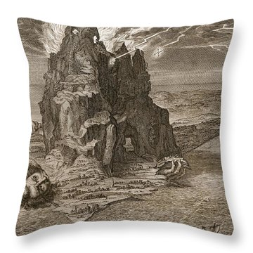 Enceladus Buried Underneath Mount Etna Throw Pillow by Bernard Picart