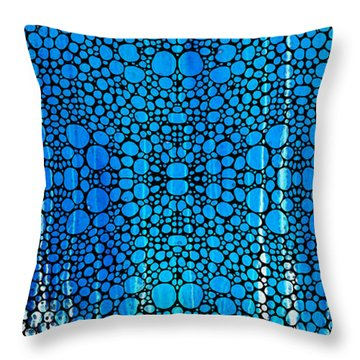 Enchanted - Blue And White Abstract Stone Rock'd Art By Sharon Cummings Throw Pillow by Sharon Cummings
