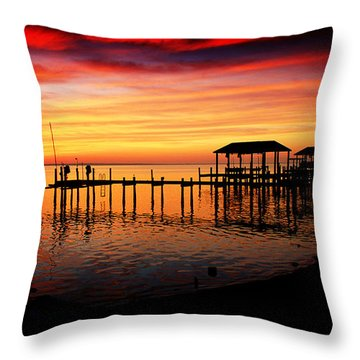 Throw Pillow featuring the photograph Enchanted Evening At The Hilton Pier by Ola Allen