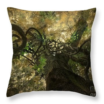 Throw Pillow featuring the digital art Enchanted Forest  by Delona Seserman