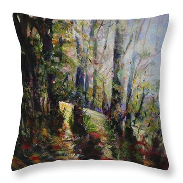Throw Pillow featuring the painting Enchanted Forest by Sher Nasser