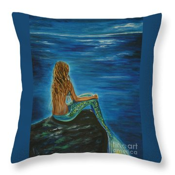 Enchanted Mermaid Beauty Throw Pillow by Leslie Allen