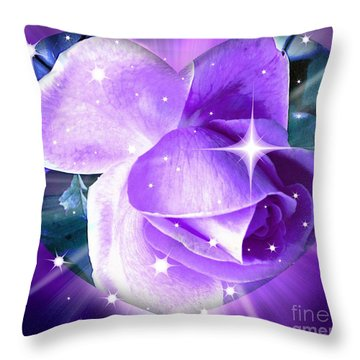 Enchanted Rose Throw Pillow by Judy Palkimas