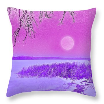 Throw Pillow featuring the digital art Rosy Hued Moonlit Lake - Boulder County Colorado by Joel Bruce Wallach