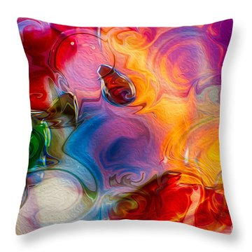 Throw Pillow featuring the painting Enchanting Flames by Omaste Witkowski