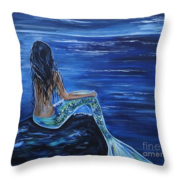 Enchanting Mermaid Throw Pillow by Leslie Allen