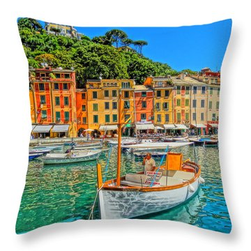 Enchanting Portofino In Ligure Italy V Throw Pillow by M Bleichner