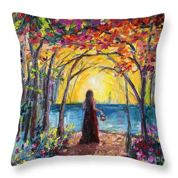 Throw Pillow featuring the painting Enchanted by Jennifer Beaudet
