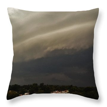 Throw Pillow featuring the photograph Encroaching Shelf Cloud by Ed Sweeney