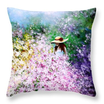 Throw Pillow featuring the painting End Of May by Kume Bryant
