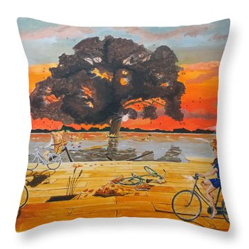 Throw Pillow featuring the painting End Of Season Habits Listen With Music Of The Description Box by Lazaro Hurtado