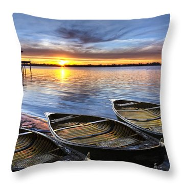 End Of The Day Throw Pillow by Debra and Dave Vanderlaan