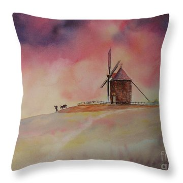 Throw Pillow featuring the painting End Of The Day Windmill Of Moidrey by Beatrice Cloake