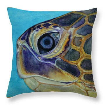 Throw Pillow featuring the painting Eye Of The Honu by Suzette Kallen