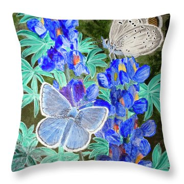 Endangered Mission Blue Butterfly Throw Pillow