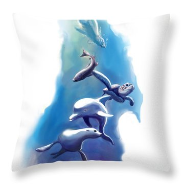 endangered sea life Water colour giclee print with eye and sea mammals Ocean Tears Throw Pillow