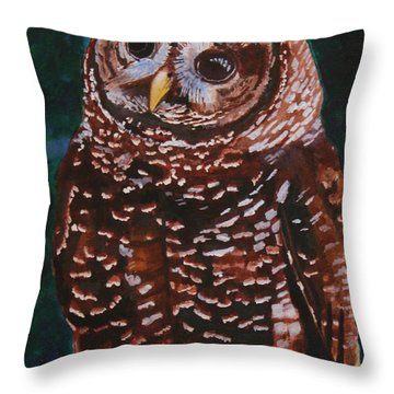 Endangered - Spotted Owl Throw Pillow by Mike Robles