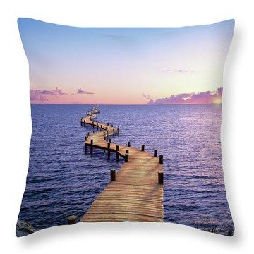 Endless Dock At Sunset Throw Pillow
