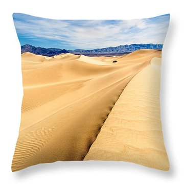 Endless Dunes - Panoramic View Of Sand Dunes In Death Valley National Park Throw Pillow