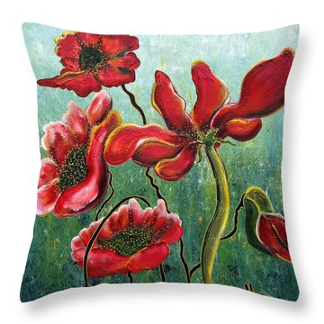 Endless Poppy Love Throw Pillow