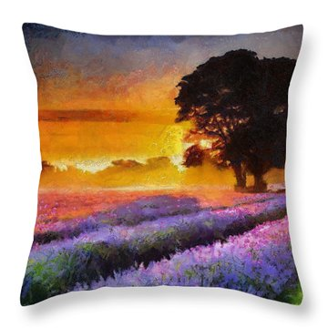 Endless Sunset Lavender Fields Throw Pillow by Georgi Dimitrov