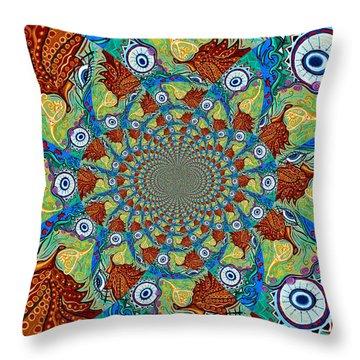 Energy Sprite Kaleidosope Throw Pillow by Genevieve Esson