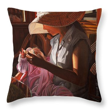 Throw Pillow featuring the painting Enfamil At Ha Long Bay Vietnam by Thu Nguyen
