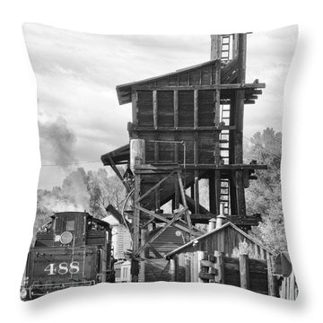Engine 488 At The Tipple Throw Pillow by Shelly Gunderson