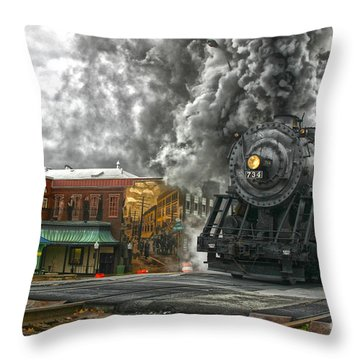 Engine 734 On The Western Maryland Scenic Railroad  Throw Pillow by Jeannette Hunt