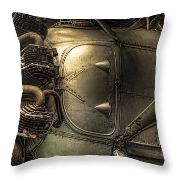 Radial Engine And Fuselage Detail - Radial Engine Aluminum Fuselage Vintage Aircraft Throw Pillow