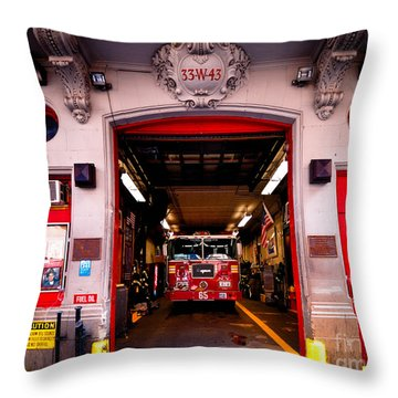 Engine Company 65 Firehouse Midtown Manhattan Throw Pillow by Amy Cicconi