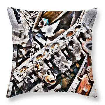 Engine For Parts - Automotive Recycling Throw Pillow by Crystal Harman