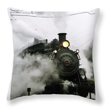 Engine Number 40 Making Steam Pulling Into New Hope Passenger Train Terminal Throw Pillow by Michael Hoard