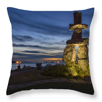 Throw Pillow featuring the photograph English Bay Inukshuk by Ross G Strachan