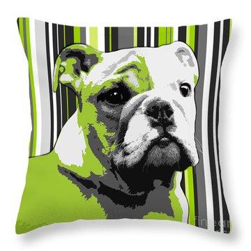 English Bulldog Puppy Abstract Throw Pillow by Natalie Kinnear