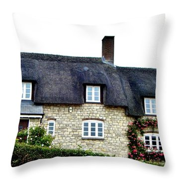 Throw Pillow featuring the photograph English Cottage 3 by Katy Mei