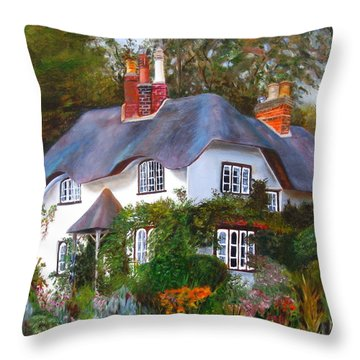 Throw Pillow featuring the painting English Cottage by LaVonne Hand