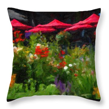 English Country Garden Throw Pillow by Richard Farrington