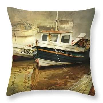 Throw Pillow featuring the photograph English Fishing Boats by Brian Tarr