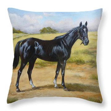 English Horse - Black Huzar Throw Pillow