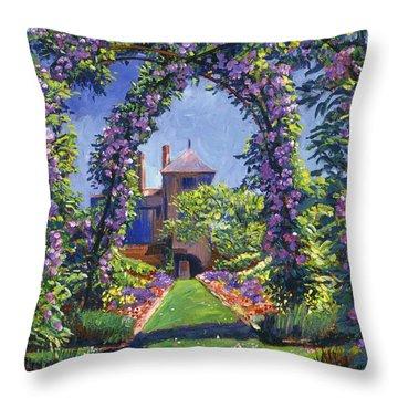 English Rose Arbor Throw Pillow