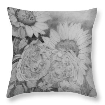 English Roses African Sunflower Throw Pillow