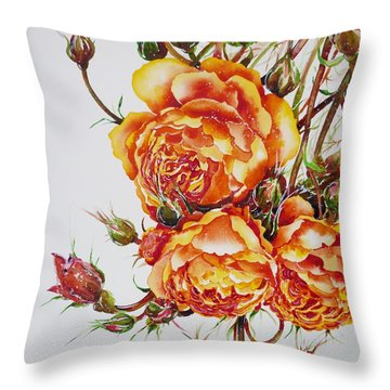 English Roses Throw Pillow by Zaira Dzhaubaeva