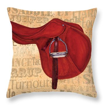 English Saddle - Tea Stained Throw Pillow