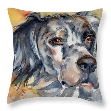 English Setter Portrait Throw Pillow