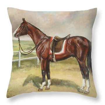 English Stallion Dark Bay Throw Pillow