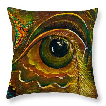 Throw Pillow featuring the painting Enigma Spirit Eye by Deborha Kerr
